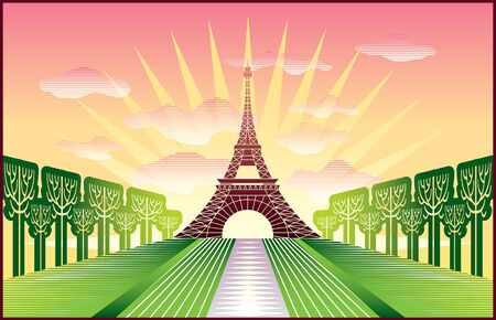landscape with Paris Eiffel Tower illustration in original   style Vector