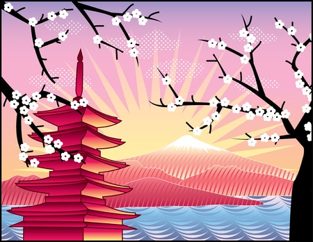 pink hills: landscape with Fuji mount, sakura tree and Japan   pagoda illustration in original style