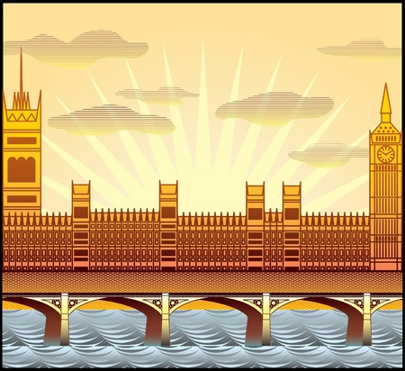 landscape with London s Big Ben, Westminster Abbey, and the River Thames illustration in original style Vector