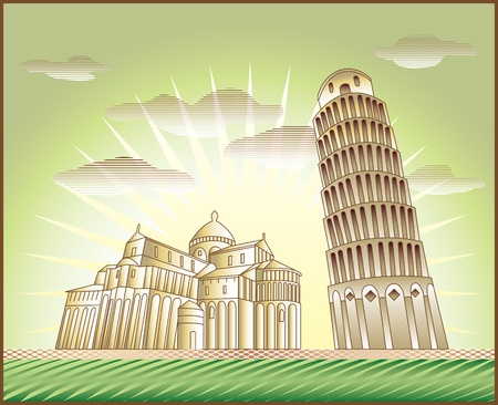 piazza dei miracoli: landscape with Leaning Tower   of Pisa and the Piazza dei Miracoli church illustration in original style