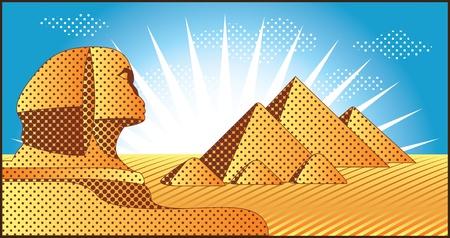 sphinx: Paesaggio con le piramidi egiziane di Giza e della Sfinge illustrazione in stile originale