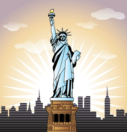 travel agency: landscape with Statue of Liberty in New York   illustration in original style