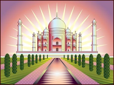 india city: paesaggio con Taj Mahal in India, illustrazione, nello stile originale