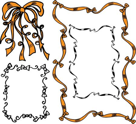 hand drawn frame: hand drawn ribbons and bows in vector