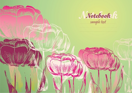 flower background for postcard or notebook Vector