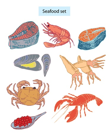 gamme de produit: la main ensemble de fruits de mer �tablie illustrations