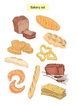 bakery food set hand drawn illustrations Stock Vector - 12834918