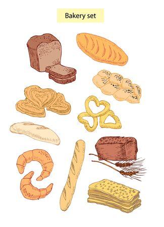 bakery food set hand drawn illustrations Stock Vector - 12834918
