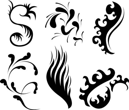 tattoo splash and ornamental elements Vector