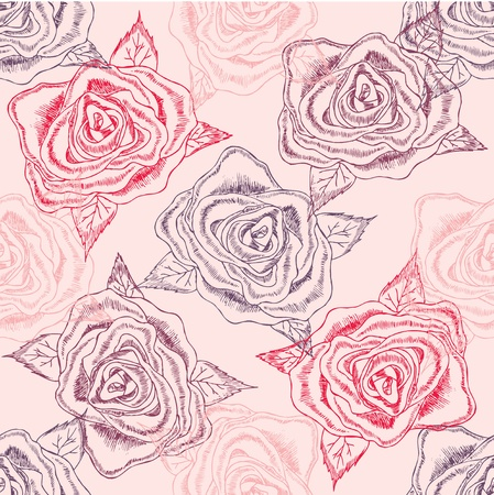 hand drawn rose: seamless flower background