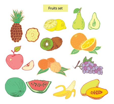 range fruit: fruits set hand drawn illustrations