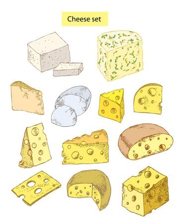 mozzarelle e formaggi: set di mano formaggio disegnato illustrazioni