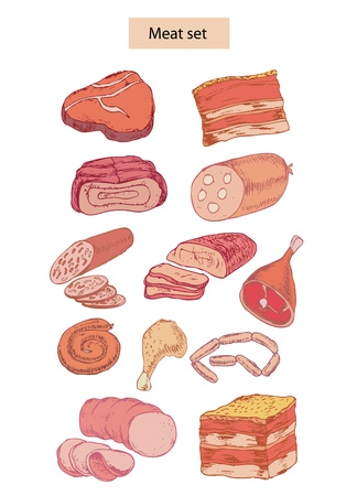 chop: meat set hand drawn illustrations