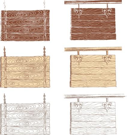 hand drawn blank wooden board  Vector