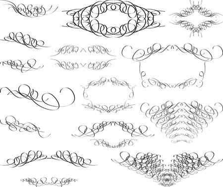 vintage monograms and swirl elements  Vector