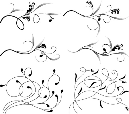 vintage monograms and swirl elements  Vector