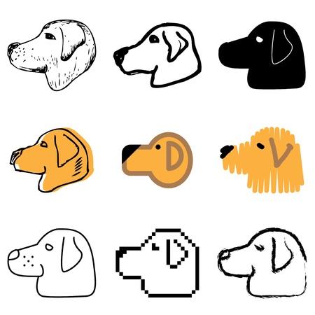 animal shelter: dog head icons vector set