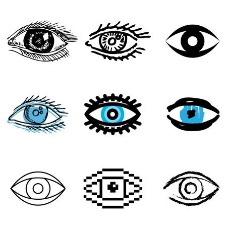zwart wit tekening: oogpictogrammen vector set