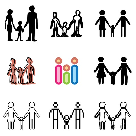 family icons vector set  Vector