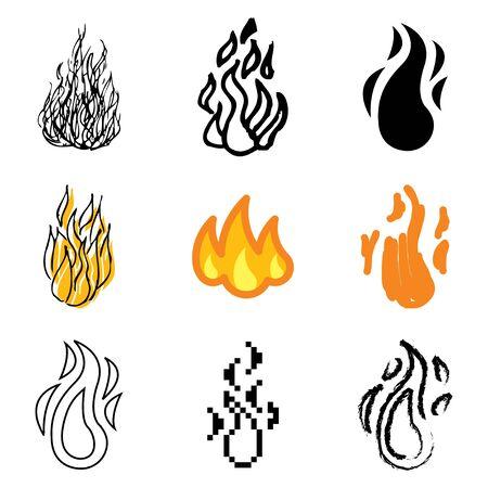 fire icons vector set  Vector