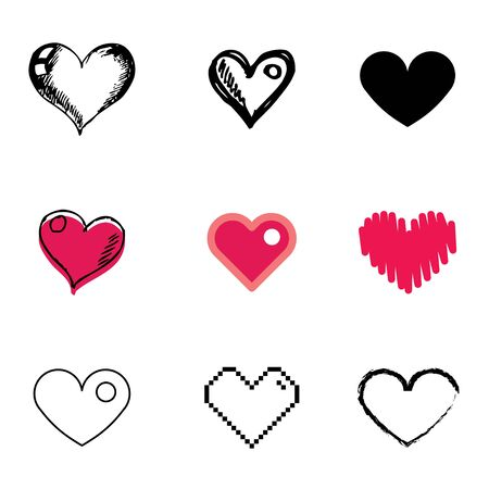 heart icons vector set  Vector