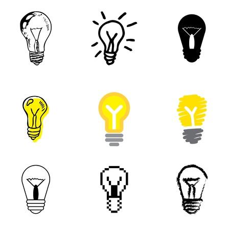 creador: iconos de la lámpara conjunto de vectores