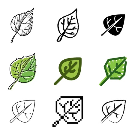 leaf icons vector set  Vector