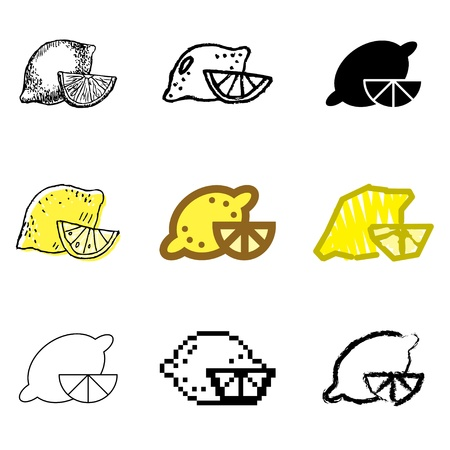 lemon icons vector set  Vector