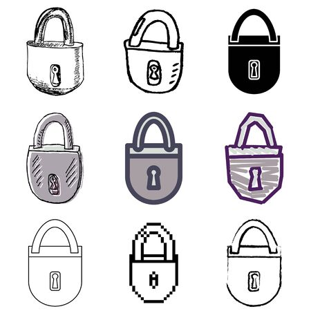 lock icons vector set  Vector