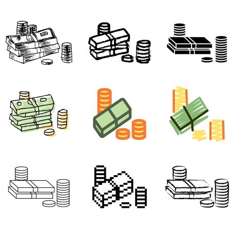 money icons vector set  Vector