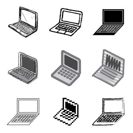 laptop icons vector set  Vector