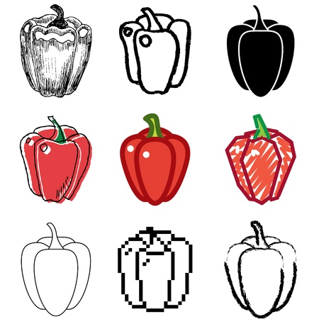 pepper icons vector set  Vector