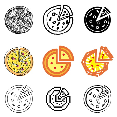 pizza icons vector set  Vector