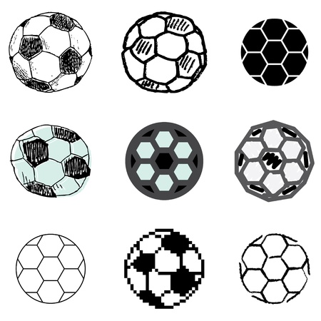 soccer ball icons vector set  Vector