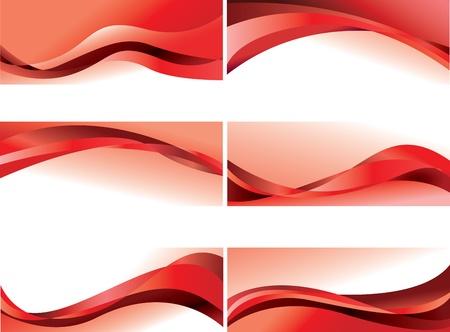 curvas: abstracto, olas rojas de vectores