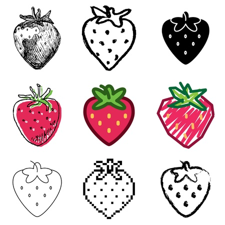 aardbei: aardbei iconen vector set Stock Illustratie