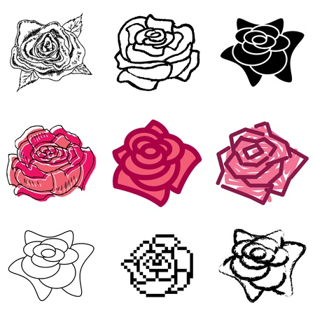 hand drawn rose: rose icons vector set  Illustration