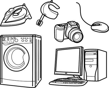 set of isolated electronic objects by line, home appliance Illustration