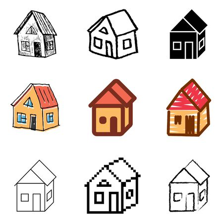 house icons vector set  Vector