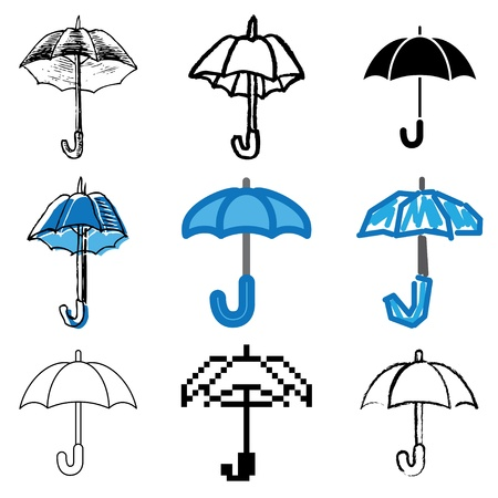 guarda sol: umbrella icons vector set