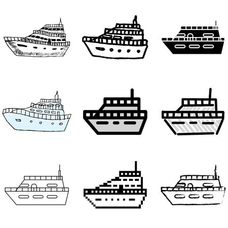 yacht icons vector set   Vector