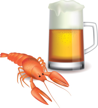 mug of beer and red crayfish isolated on white photo-realistic vector   illustration Stock Vector - 13001659