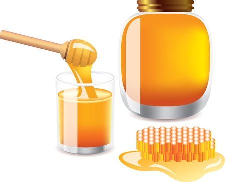 glass of honey, bank of honey, wooden honey dipper and honeycomb   isolated on white photo-realistic vector illustration Stock Vector - 13001654