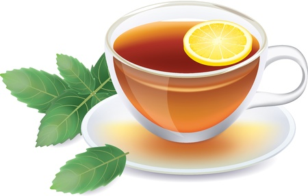 mint: transparent cup of black tea with lemon and mint isolated on white photo-realistic vector illustration