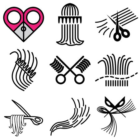 scissors hair: barbershop icons vector set  Illustration