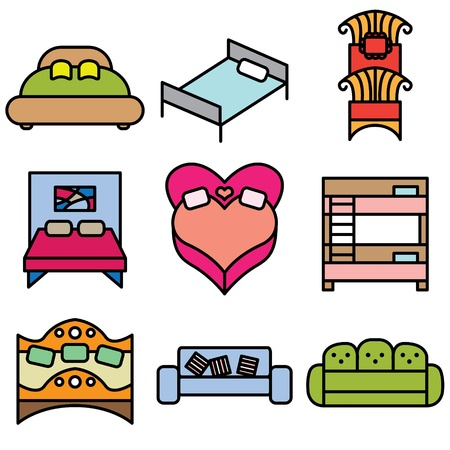 bed icons vector set  Vector