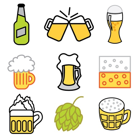 hops: beer icons vector set