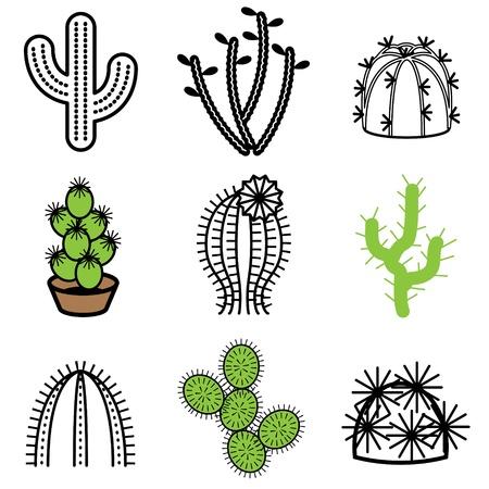 the desert: cactus icons vector set