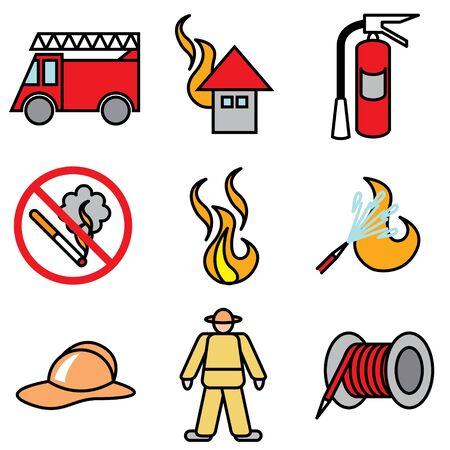 incendio casa: los iconos de fuego conjunto de vectores
