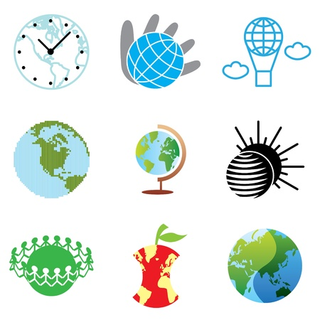 globe icons vector set  Vector